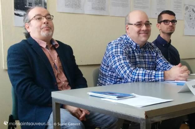 L'écrivain Michel Pleau, l'architecte et consultant en patrimoine Martin Dubois et l'historien Dale Gilbert