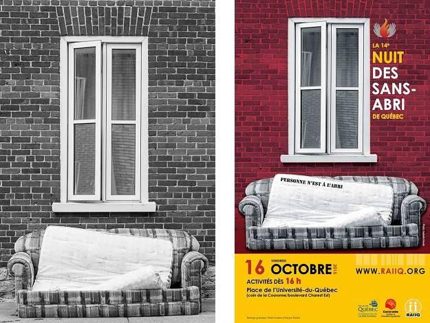 Affiche, 14e Nuit des sans-abri, photo par Isabelle Houde