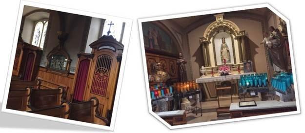 Église Saint-Sauveur, bancs et lampions