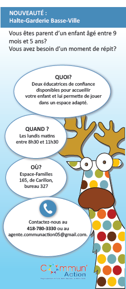 Halte garderie Basse-Ville | Commun'Action 0-5