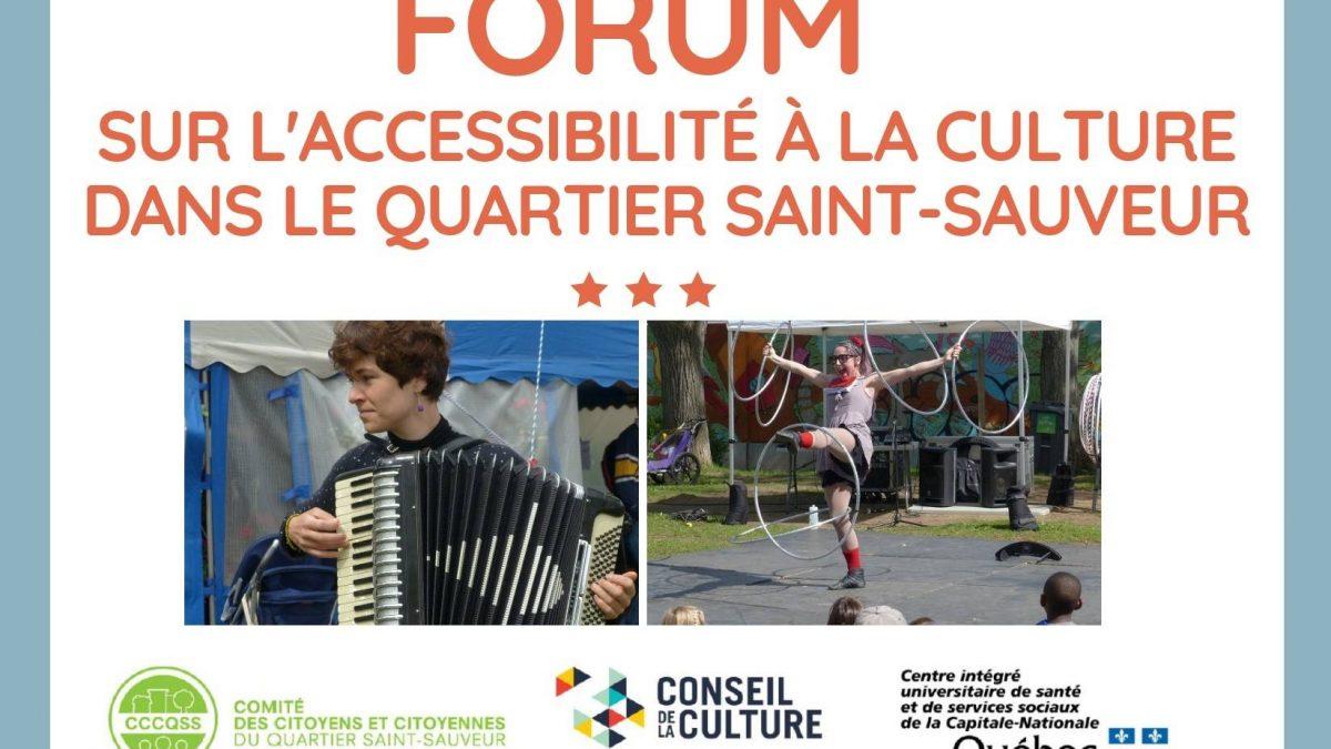Forum sur l'accessibilité à la culture dans Saint-Sauveur : encore des places disponibles | 10 octobre 2018 | Article par Vincent Auclair