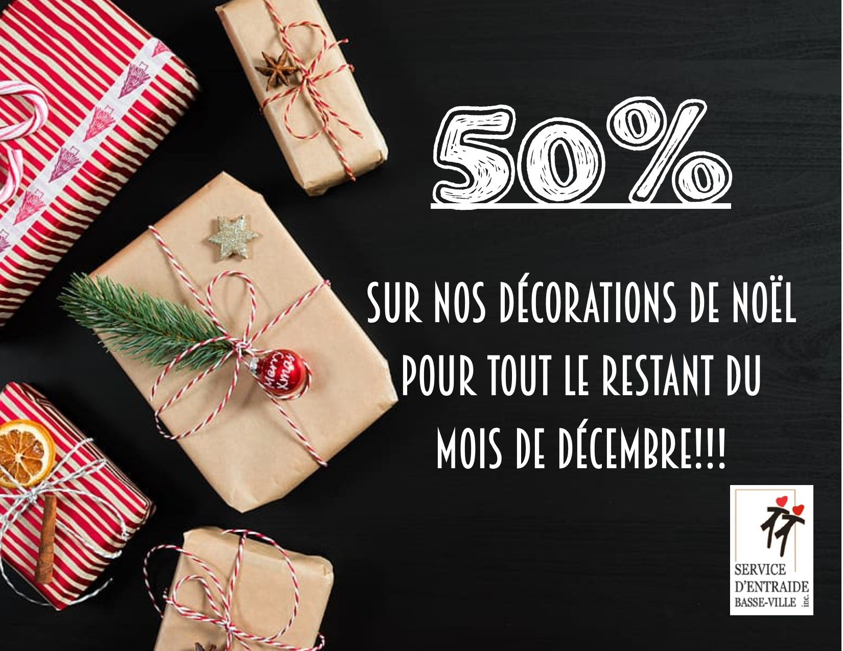 50% sur les décorations de Noël | Service d'entraide Basse-Ville