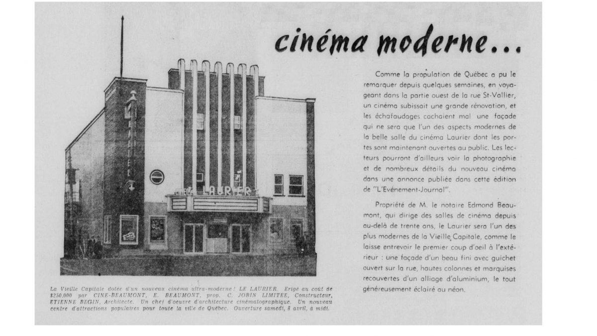 Le théâtre Français et le cinéma Laurier au coin Saint-Vallier-Carillon – 3 de 3 | 9 mai 2020 | Article par José Doré