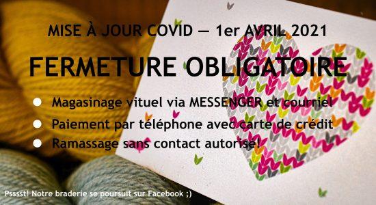 Fermeture avril et service en ligne | Coeur de mailles