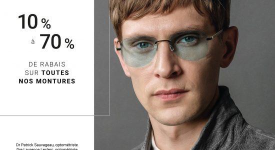 10% à 70% sur toutes les pièces d'exception en boutique   Lunetterie Optiboutiq