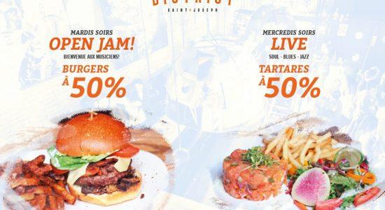 Nouvelle promotion estivale sur burgers et tartares   District Saint-Joseph
