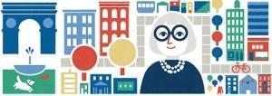 Google Doodle Jane Jacobs 100e 4 mai 2016