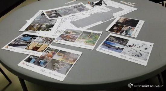Côte Sauvageau, église Saint-Malo : citoyens aux tables à dessin - Suzie Genest