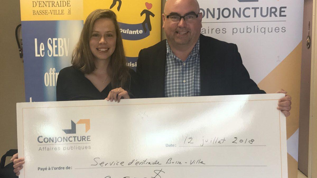 LeService d'entraide Basse-Ville gagne le concours de Conjoncture affaires publiques | 17 juillet 2018 | Article par Suzie Genest