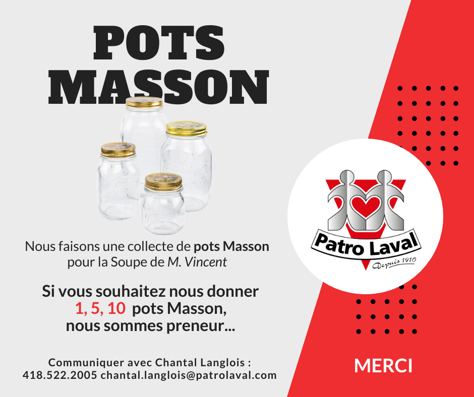 Collecte de pots Masson | Patro Laval