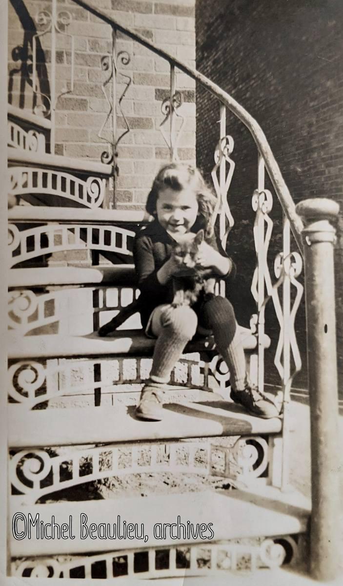 Petit garçon avec sa chatte grise dans un escalier, rue Bouffard, 1943.