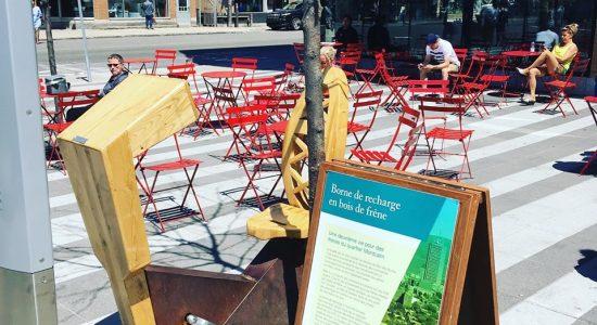 Borne de recharge à motricité humaine   SDC Montcalm – Quartier des arts de Québec