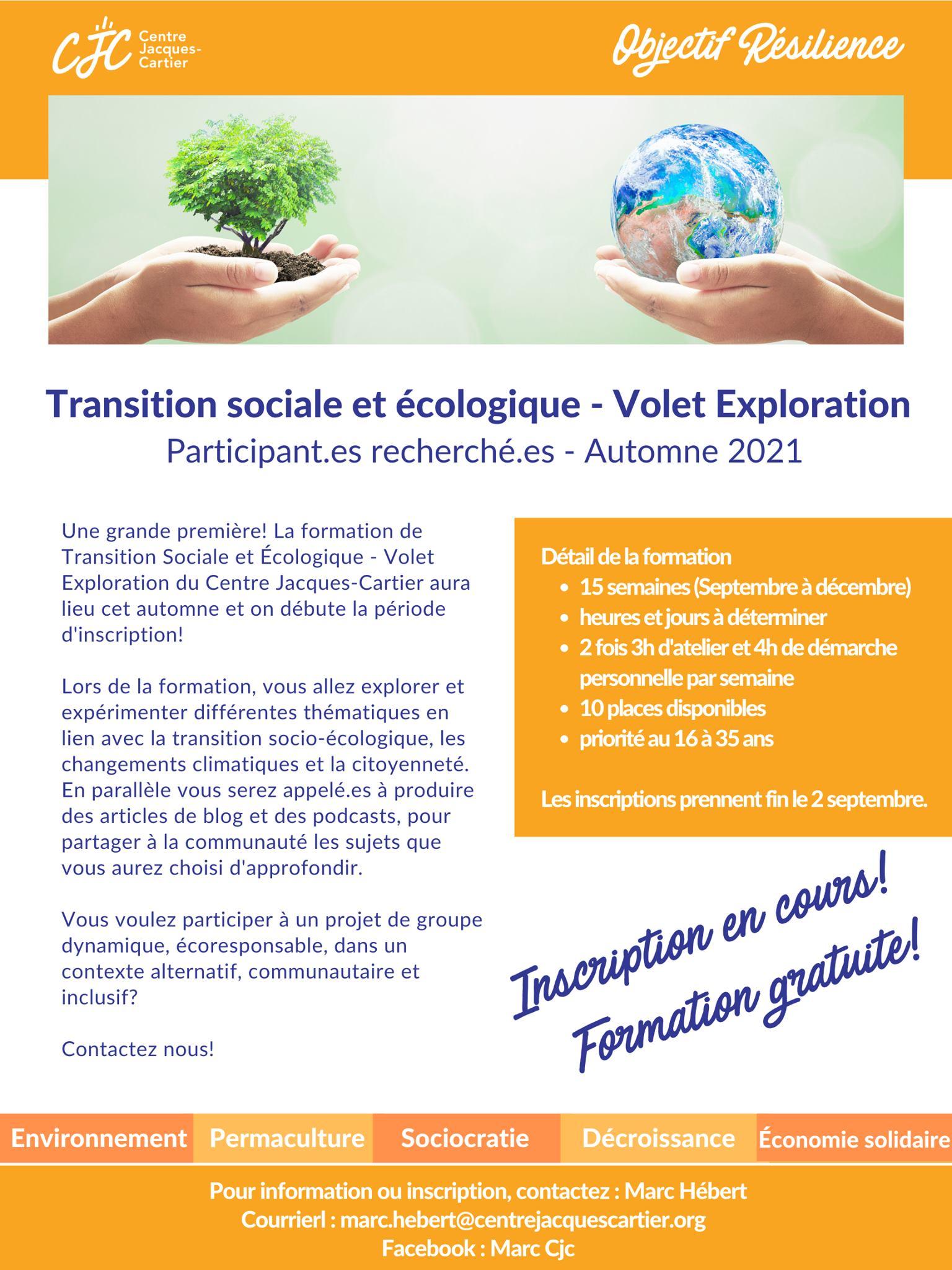 Formation de transition sociale et écologique -Volet exploration